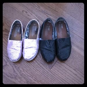 Girls' Toms glittery shoes. Two different sizes.